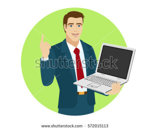 stock-vector-businessman-holding-laptop-notebook-and-pointing-up-portrait-of-businessman-in-a-flat-style-572015113
