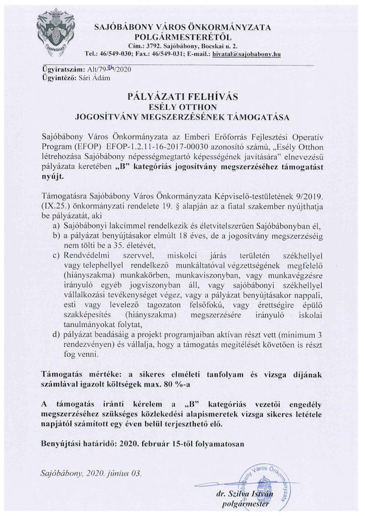 """Pályázati felhívás """"pdf"""" formátumban."""